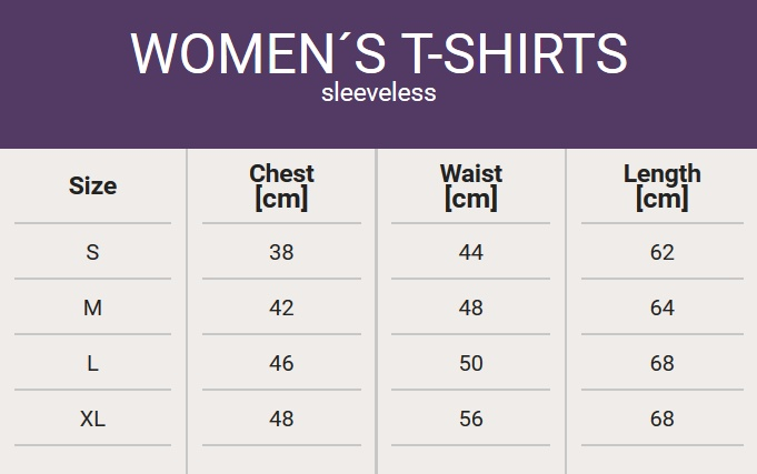 Size chart - Woman´s sleeveless T-shirt?