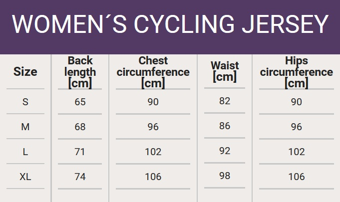 Size chart - Woman's cycling jersey