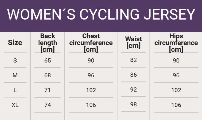 Size chart - Woman's cycling jersey