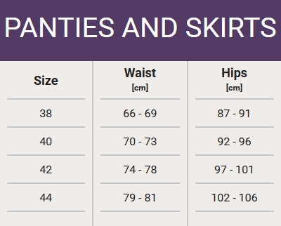 Size chart - panties and skirts