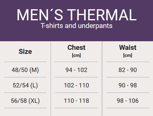 Size chart - Man's thermal clothes