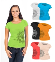 Woman´s T-shirt nanosilver CLASSIC imprinted FLORAL